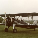 Boeing Stearman, probably G-AROY, marked for Biggles film