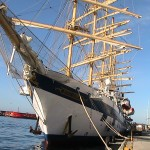 Royal Clipper tied up at Ponta Delgarda after crossing the Atlantic
